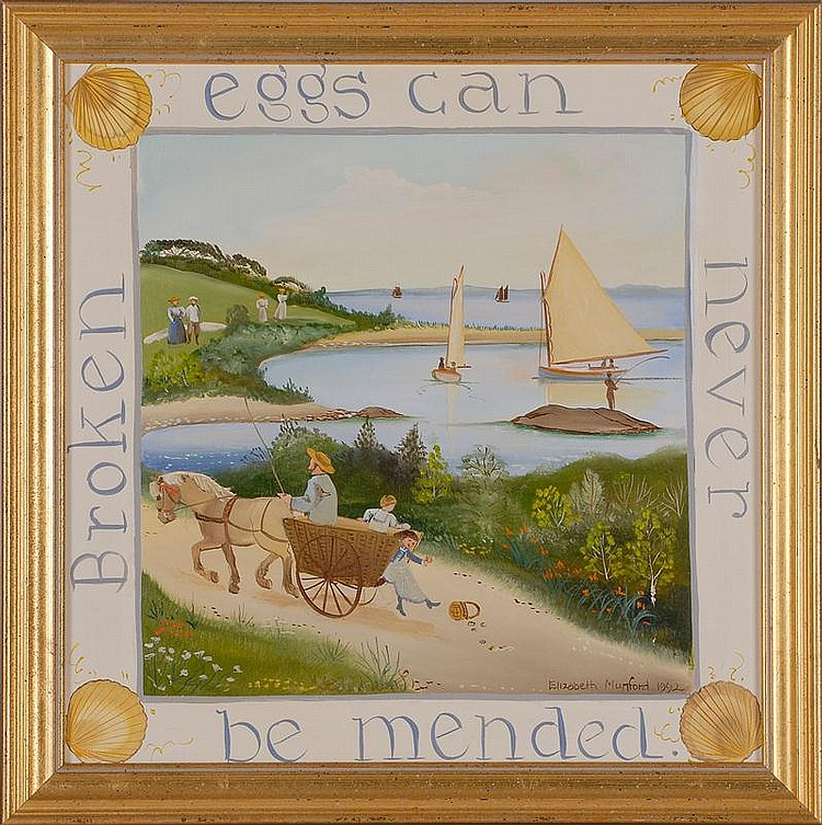 "ELIZABETH MUMFORD, American, 20th Century, ""Broken Eggs Can Never be Mended"",, Oil on panel, 15"" x 15"". Framed."