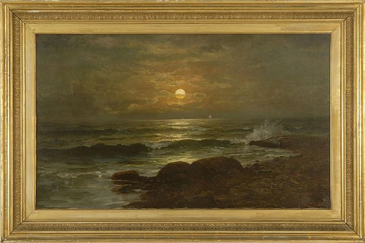 JONATHAN BRADLEY MORSE, American, 1834-1898, Sunset seascape with rocky shore and distant boats., Oil on canvas, 23¾