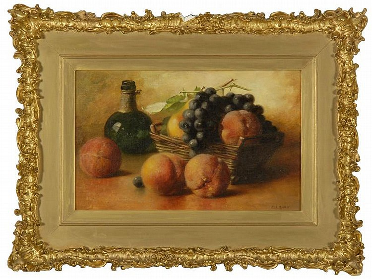 EMMA LEVINIA SWAN, American, 1853-1927, Still life with basket of grapes, peaches and pear., Oil on canvas, 16