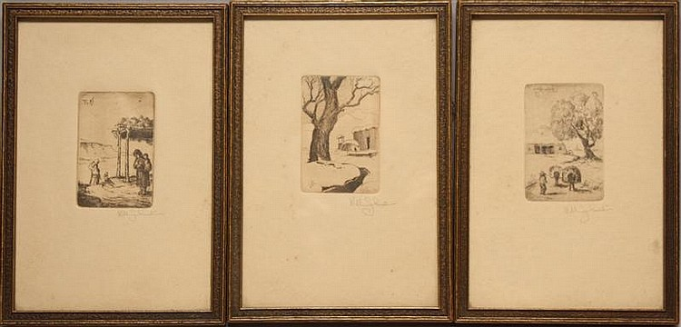 WILL SHUSTER, American, 1893-1969, Set of four etchings depicting Southwest views., Each 3