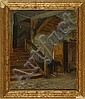 FRANCIS DAVIS MILLET, American, 1846-1912, Room interior with winding staircase., Oil on board, 15