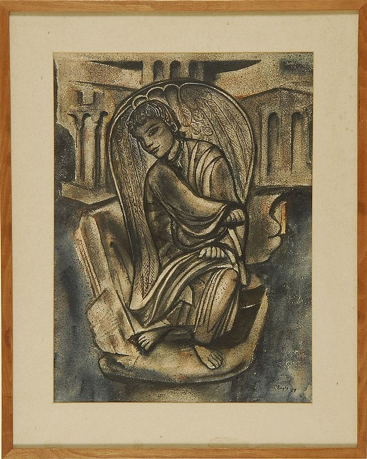 WILLIAM JOHNSON L'ENGLE, American, 1889-1978, Seated angel., Watercolor, mat opening 19