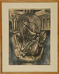"""WILLIAM JOHNSON L'ENGLE, American, 1889-1978, Seated angel., Watercolor, mat opening 19"""" x 14"""". Framed."""