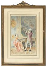 """BERNARD LOUIS BORIONE, French, b. 1865, """"The Duet""""., Watercolor, 16.5"""" x 11"""". Framed 28"""" x 19.5""""."""