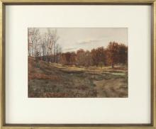 """CHARLES HENRY SPRINGER, Rhode Island, 1857-1920, Meadow with autumnal trees, likely Rhode Island., Watercolor, 11.5"""" x 16.5"""". Framed..."""