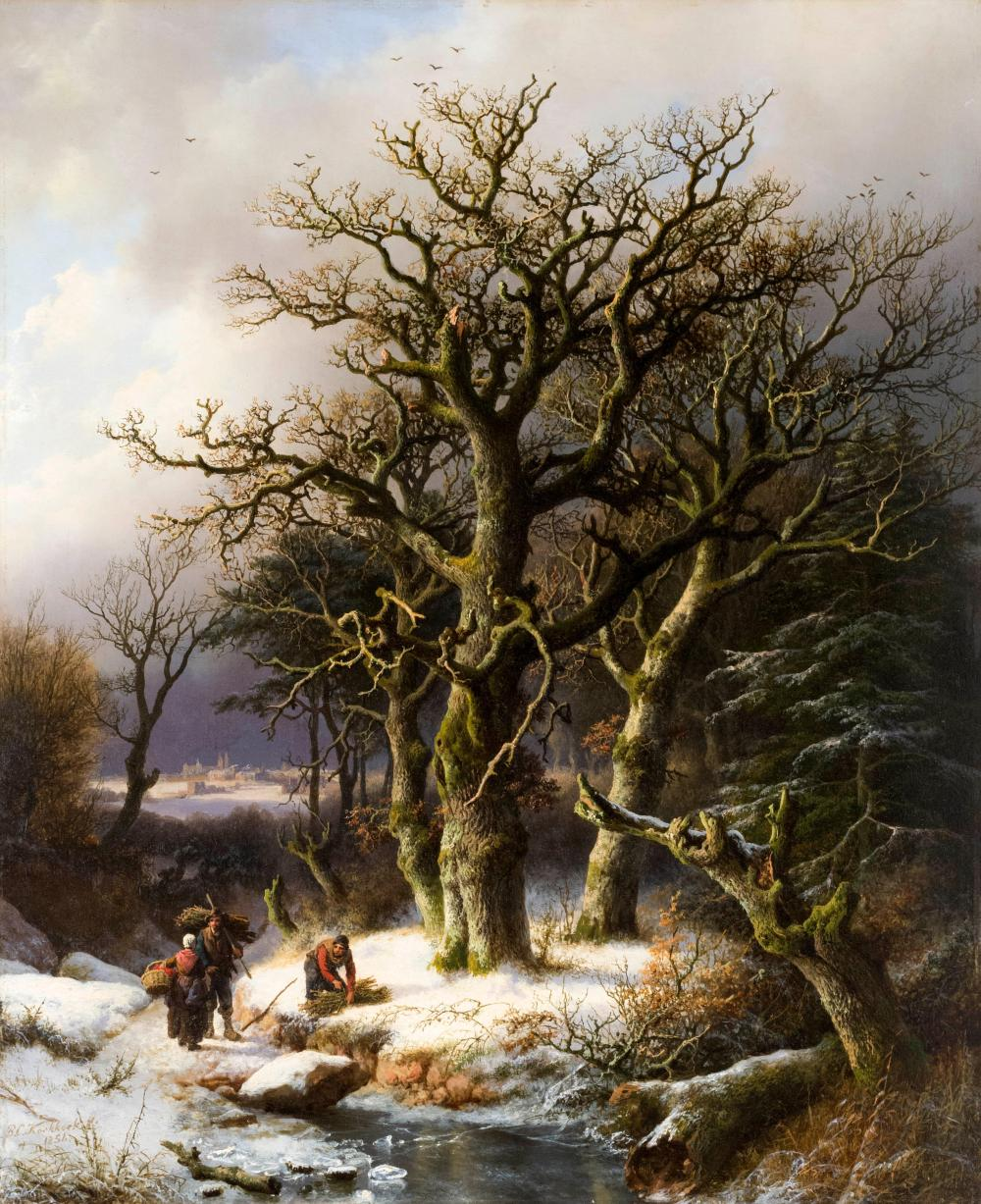 "BAREND CORNELIS KOEKKOEK, Dutch/German, 1803-1862, Winter landscape with wood gatherers., Oil on panel, 24.25"" x 19.75"". Framed 31""..."