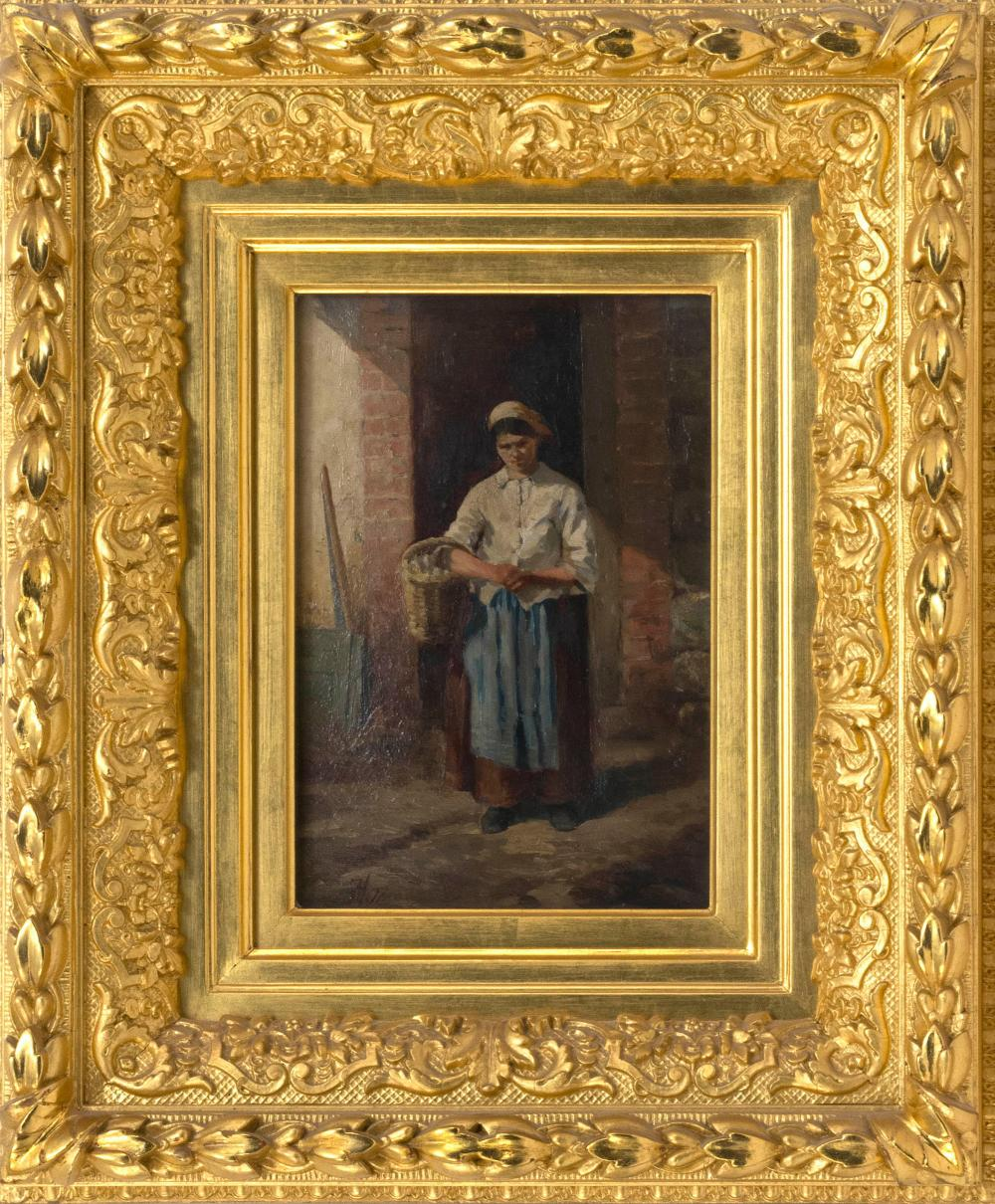 "JEAN LOUIS ERNEST MEISSONIER, French, 1815-1891, Woman in a doorway holding a basket., Oil on panel, 10"" x 7"". Framed 18"" x 15.5""."