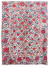 CENTRAL ASIAN SUZANI Silk floral and fruit embroidered design in crimson, deep green, blue and yellow on cotton. 91