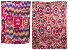 TWO SIMILAR SILK BOKHARA IKAT PANELS In shades of raspberry, plum and saffron. One 73