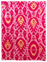 SILK BOKHARA IKAT PANEL In shades of raspberry, blush and saffron. Not backed. 72