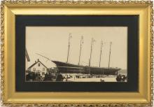 PHOTOGRAPH OF THE FIVE-MASTED SHIP JOHN B. PRESCOTT On its launch day at the Holly Bean Shipyard in Camden, Maine, on January 13, 18...