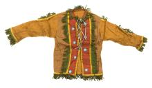 AMERICAN NATIVE CHILD'S JACKET With beadwork adornments and green fringe. Length approx. 17