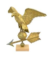 COPPER EAGLE WEATHER VANE Under gilt paint with slight green patina. Spread-wing eagle perched on a globe. Includes directional but...