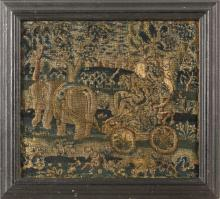 ENGLISH NEEDLEWORK PANEL Depicts a cart being drawn by an elephant. 10.75