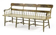 PENNSYLVANIA DEACON'S BENCH Under yellow paint. Back with painted decoration of fruit and flowers. Back height 34.5