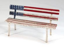 CHILD-SIZE WOOD AND IRON BENCH WITH PAINTED DECORATION OF AN AMERICAN FLAG Height 17.5