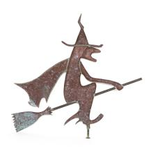 COPPER FULL-BODIED WEATHER VANE IN THE FORM OF A WITCH RIDING A BROOMSTICK Uniform patina and verdigris. No finders. Height 38
