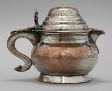 SHEFFIELD SILVER PLATED WATER POT Hand-hammered silver on copper in a beautiful squat form. Height 5.25