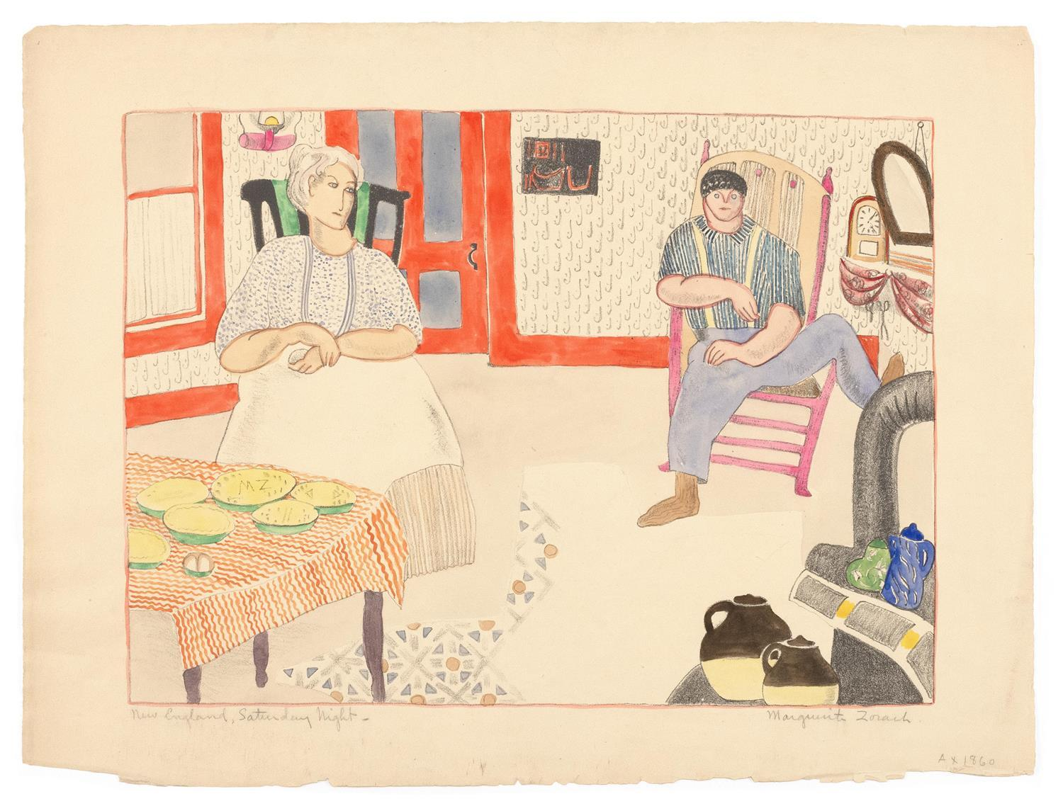 """MARGUERITE THOMPSON ZORACH, New York/Maine/California, 1887-1968, """"New England, Saturday Night""""., Lithograph with watercolor and pen..."""
