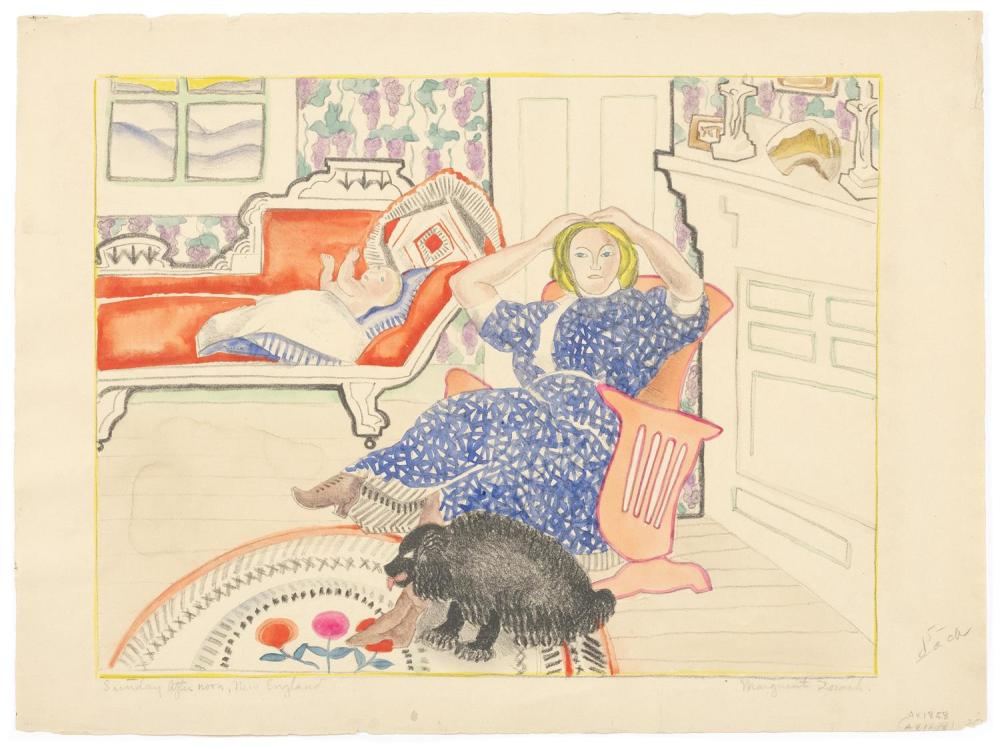 "MARGUERITE THOMPSON ZORACH, New York/Maine/California, 1887-1968, ""Sunday After Noon, New England""., Lithograph with watercolor and..."