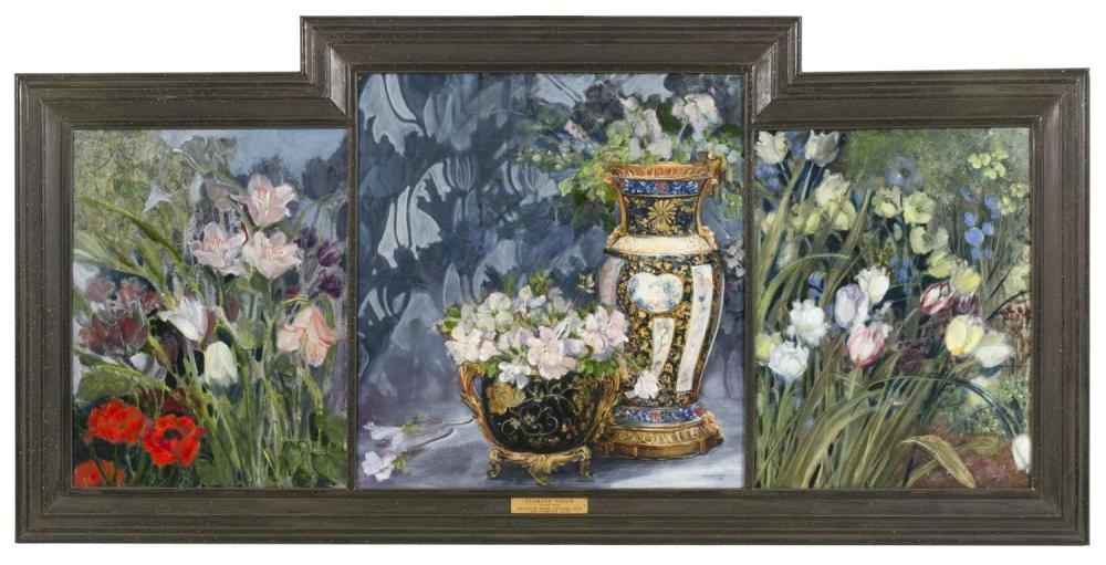 """CLARICE SMITH, Virginia/Washington, D.C., b. 1933, """"Triptych with Chinese Vase and Flowers 1996""""., Oil on canvas triptych, central s..."""