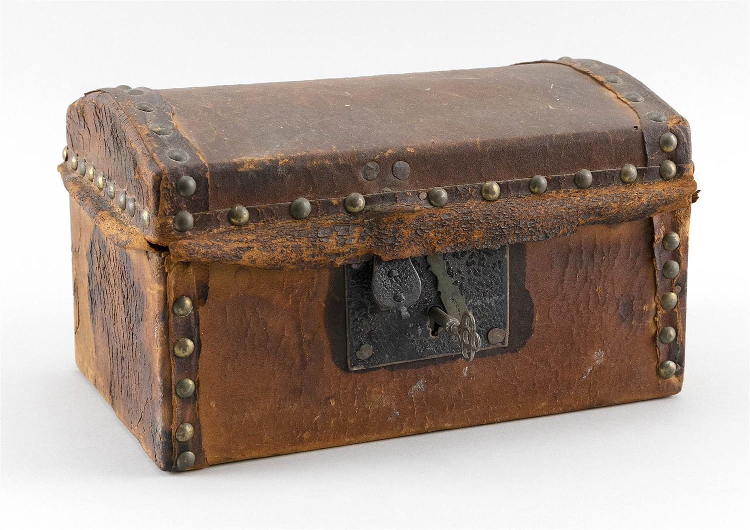 "SMALL LEATHER-COVERED DOME-TOP DOCUMENT BOX Label on interior of lid for ""Amos Tappan, Saddler & Upholsterer, ... Newburyport"". Inte..."