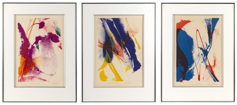 "PAUL JENKINS, New York/Kansas/Missouri/France, 1923-2012, Three colorful abstracts, circa 1965., Serigraphs on paper, 17"" x 11.5"" si..."