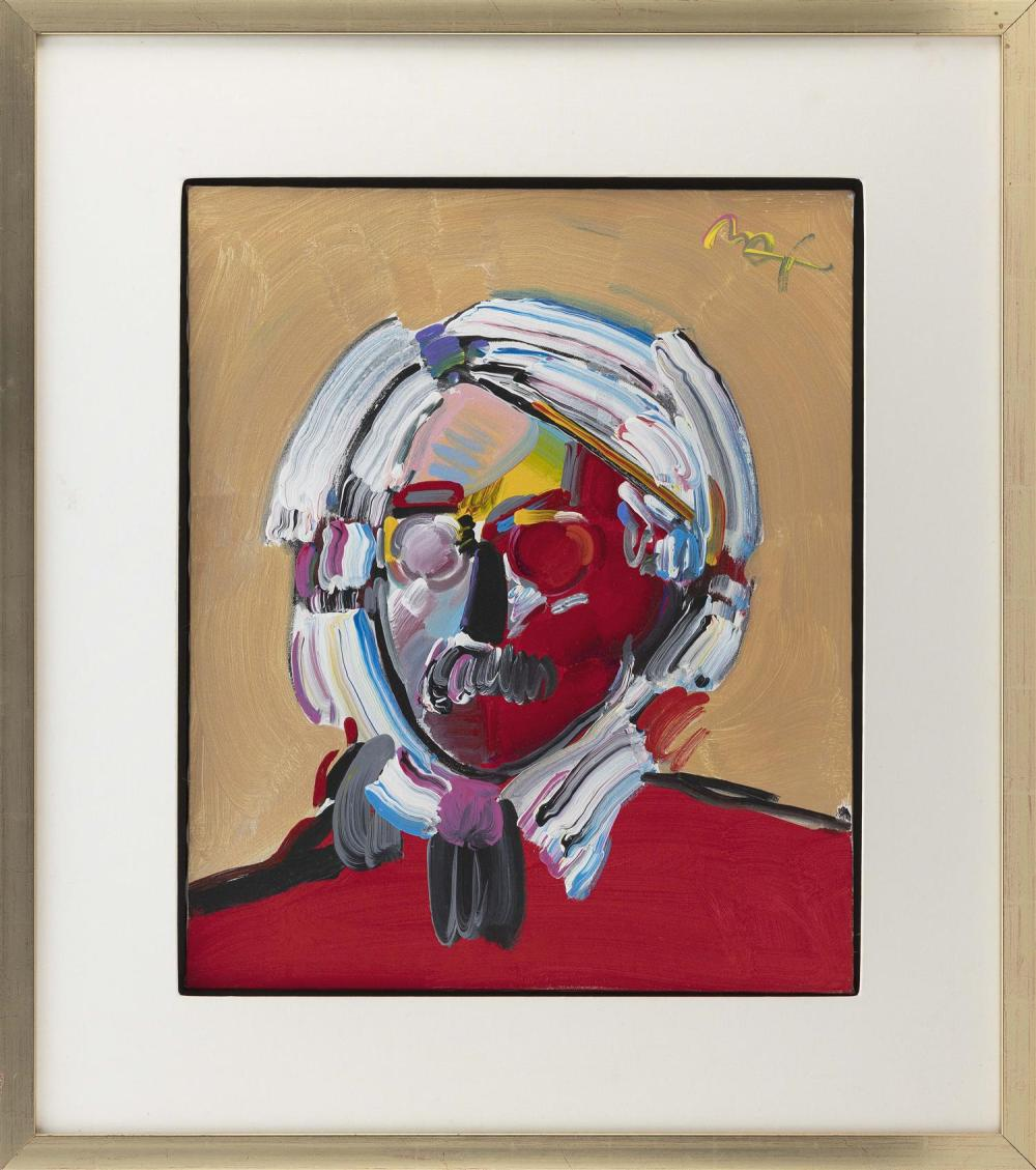 """PETER (FINKELSTEIN) MAX, New York/Germany, b. 1937, """"Andy with a Mustache""""., Acrylic on canvas, 24"""" x 20"""". Framed 35"""" x 31""""."""