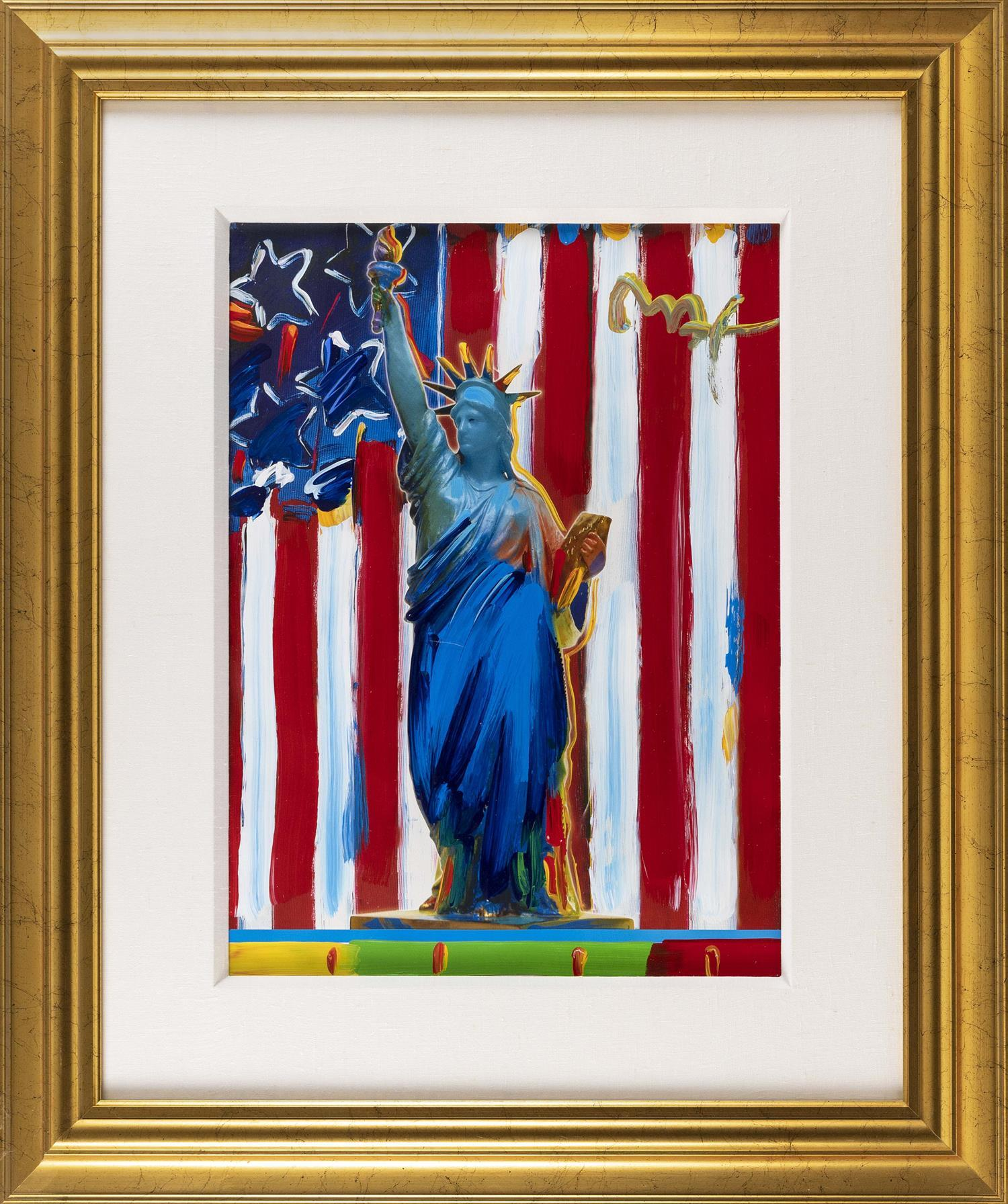 "PETER (FINKELSTEIN) MAX, New York/Germany, b. 1937, ""United We Stand""., Mixed media, 23"" x 17"" sight. Framed 37"" x 31.5""."