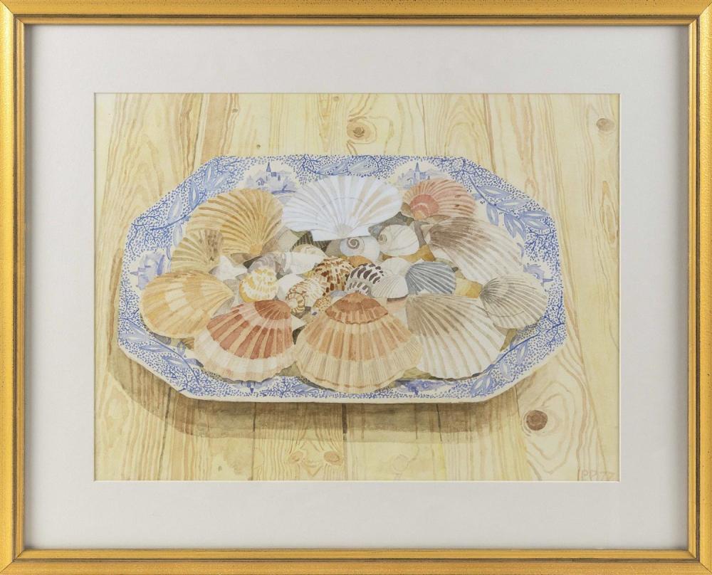 "PETER PLAMONDON, Massachusetts/California, b. 1944, ""Plate of Shells""., Watercolor on paper, 14.5"" x 19.5"" sight. Framed 22"" x 27""."