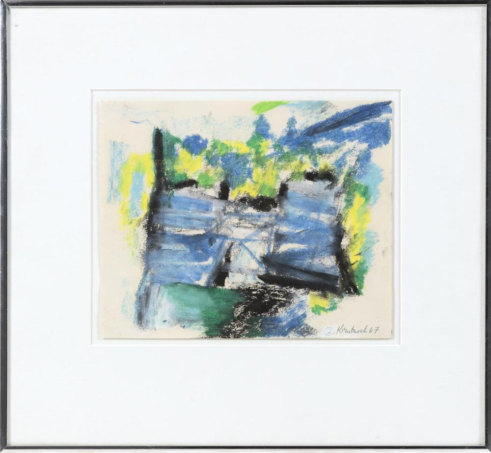 "WILLIAM KIENBUSCH, New York, 1914-1980, ""Two Chairs Summer Garden #2""., Mixed media on paper, 8"" x 9.5"". Framed 15"" x 16""."