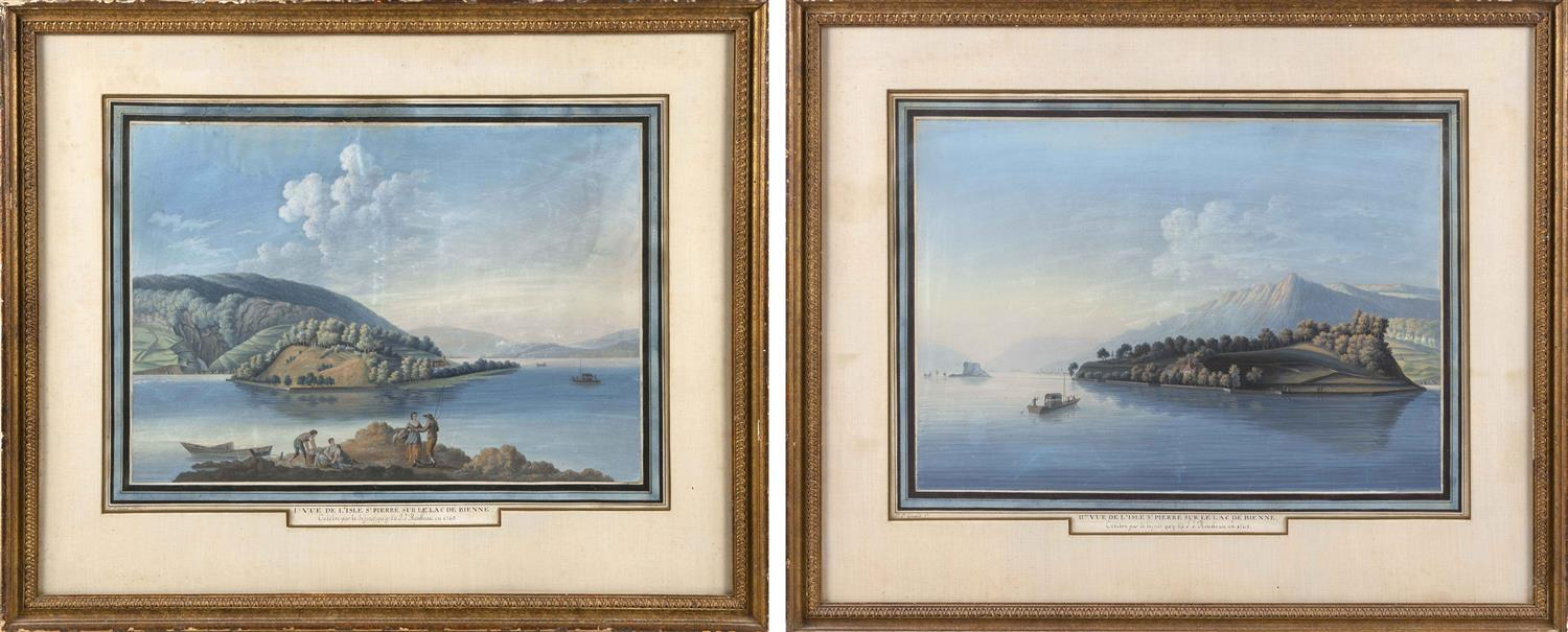 "JOHAN-PETER GIRARD, Switzerland, 1769-1851, Pair of Swiss landscapes., Gouache on paper with French mat, 16.5"" x 22"" sight. Framed 2..."