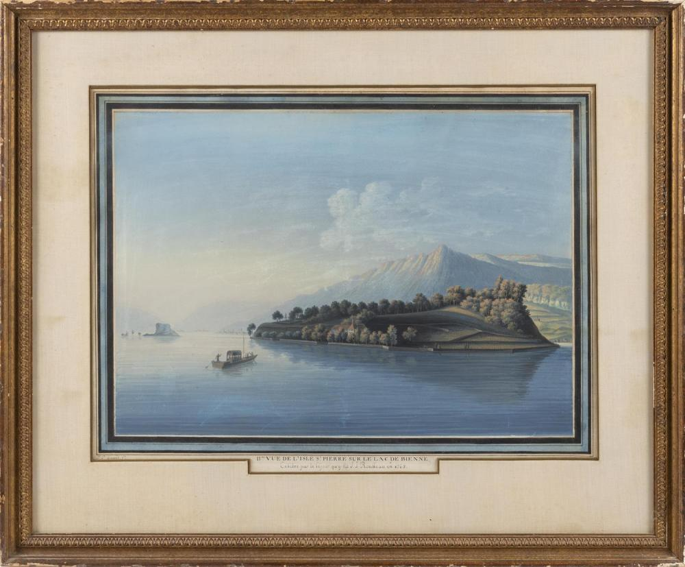 JOHAN-PETER GIRARD, Switzerland, 1769-1851, Pair of Swiss landscapes., Gouache on paper with French mat, 16.5
