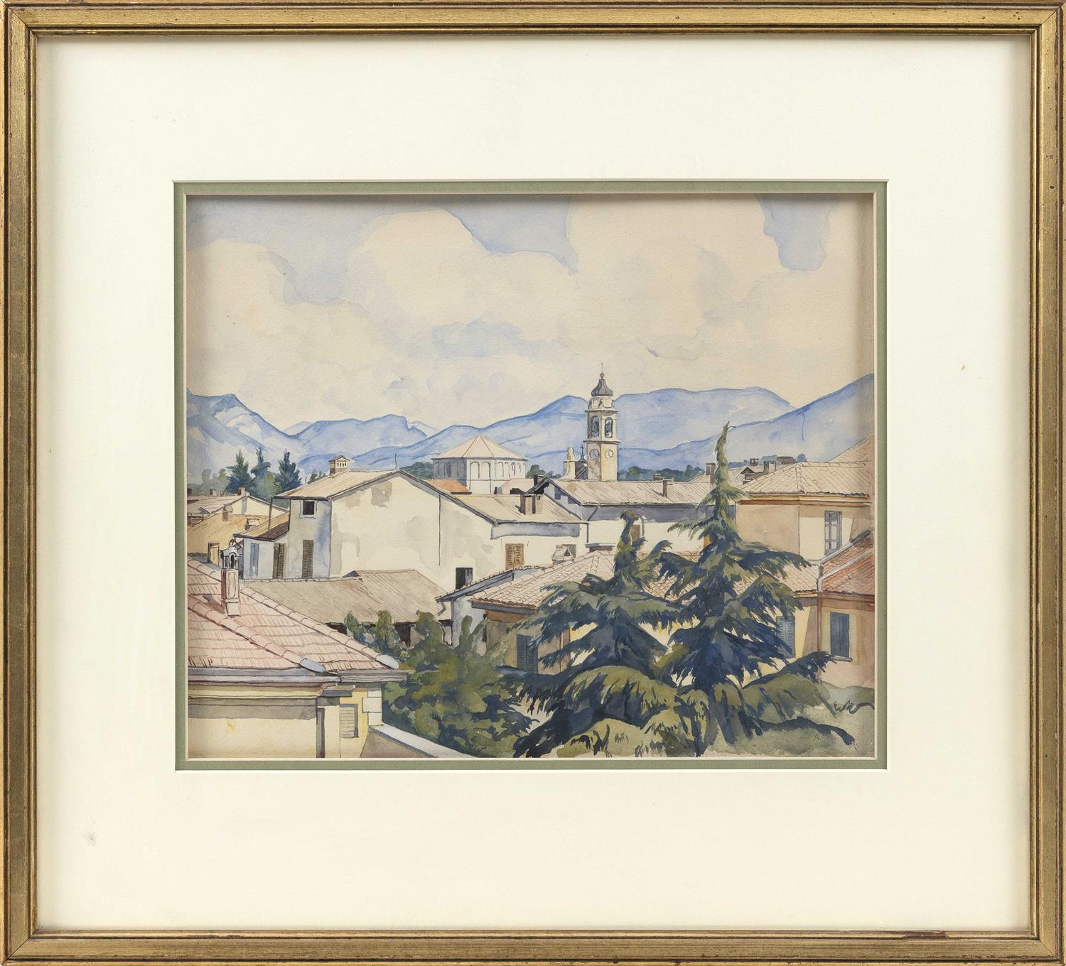 """LUIGI LUCIONI, New Jersey/New York/Vermont/Italy, 1900-1988, """"Italian Roofs""""., Watercolor on paper, 12"""" x 14"""" sight. Framed 20"""" x 22""""."""