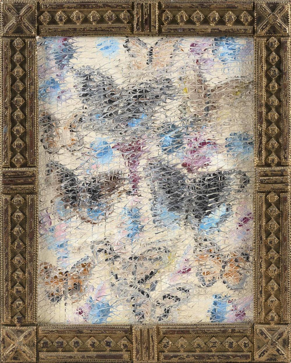 "HUNT SLONEM, New York, b. 1951, ""Butterflies""., Oil on board, 18.5"" x 14"". Framed 23"" x 18""."