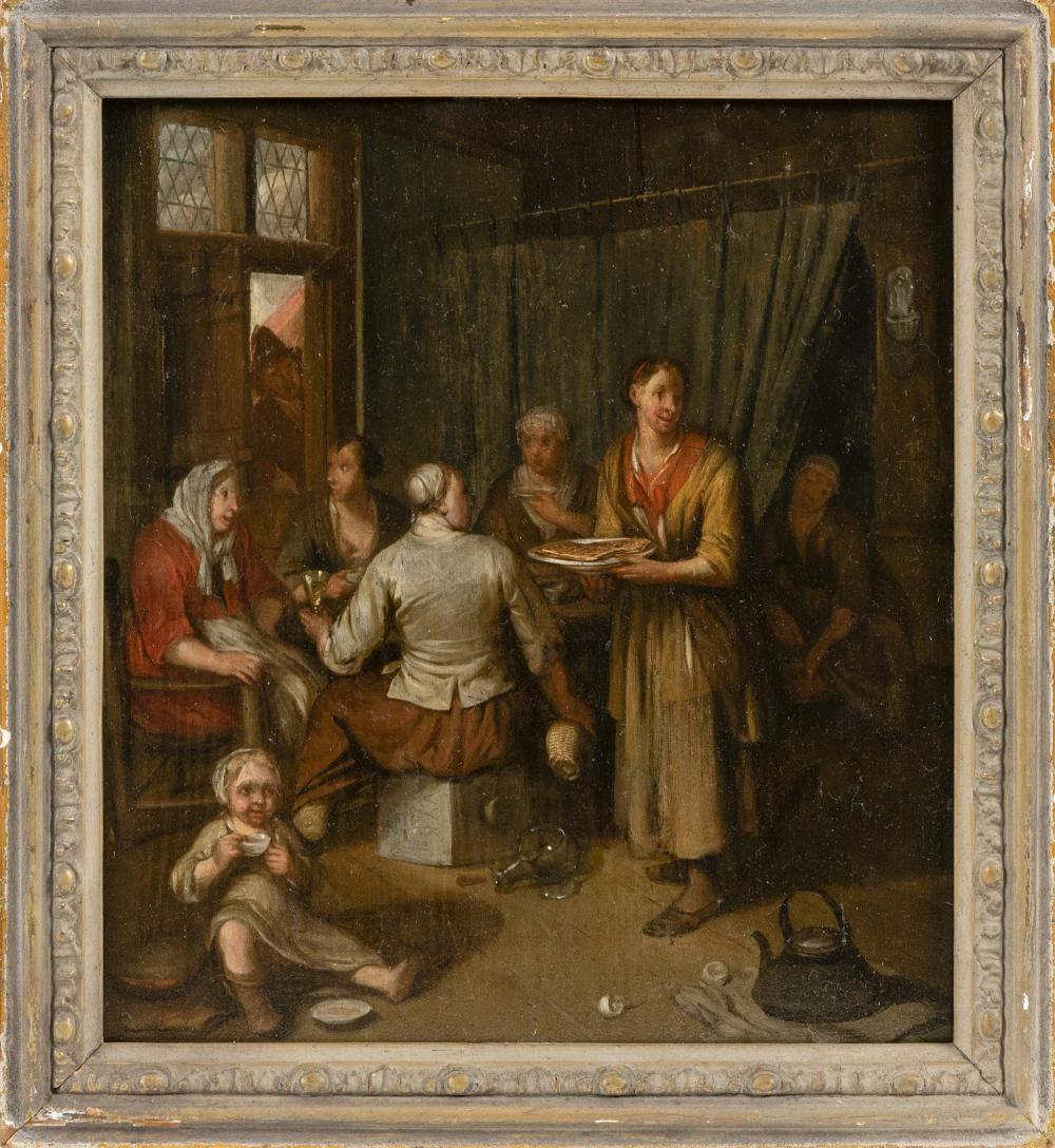 """DUTCH SCHOOL, 18th Century, Dutch interior scene of women drinking and eating, with a small child nearby., Oil on panel, 11"""" x 10.25..."""