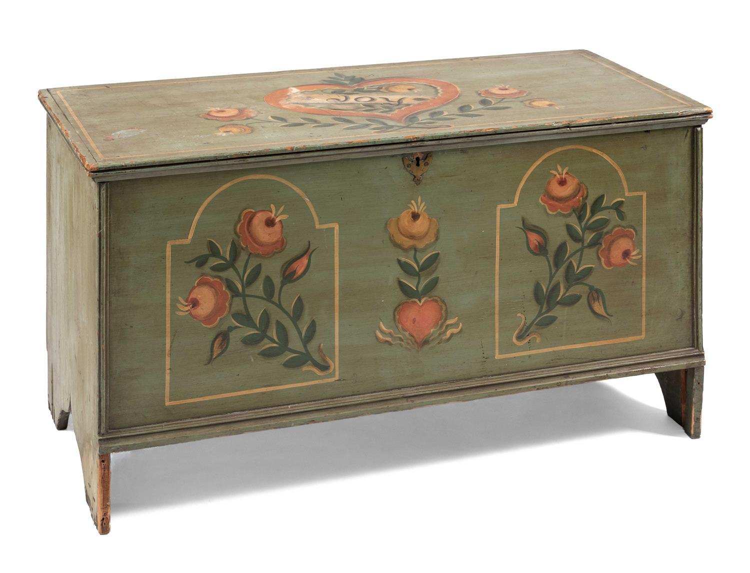 "RALPH AND MARTHA CAHOON, Cape Cod, 1910-1982 and 1905-1999, Pine six-board chest with painted decoration., Height 24.5"". Width 46""...."