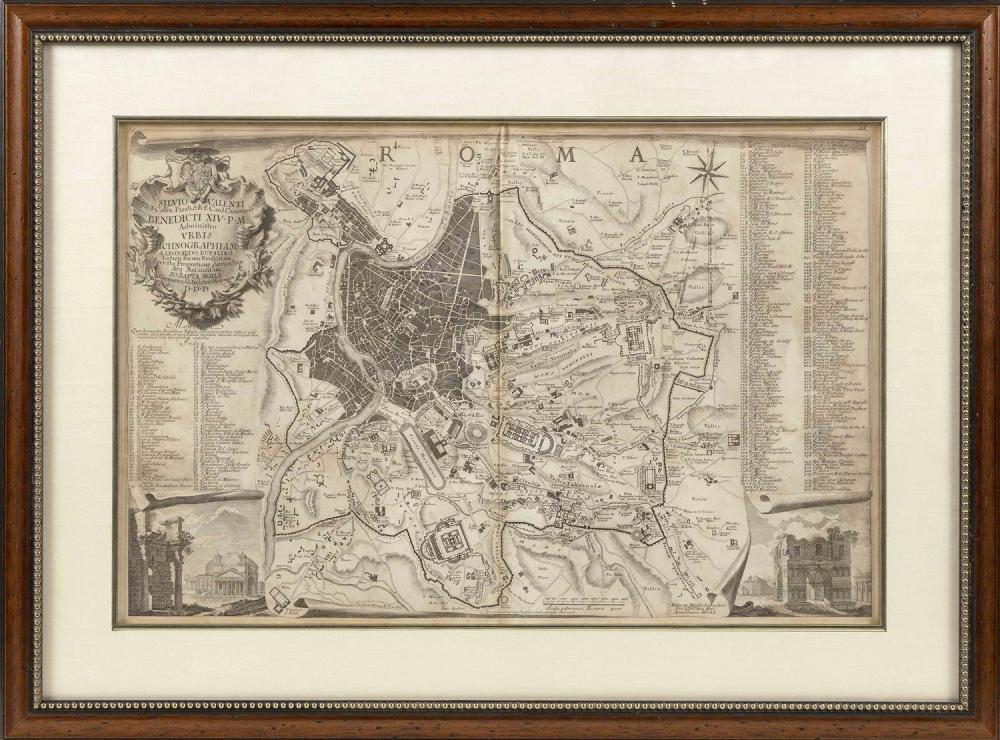 "MAP OF ROME 18"" x 27"" sight. Framed 26.75"" x 36""."