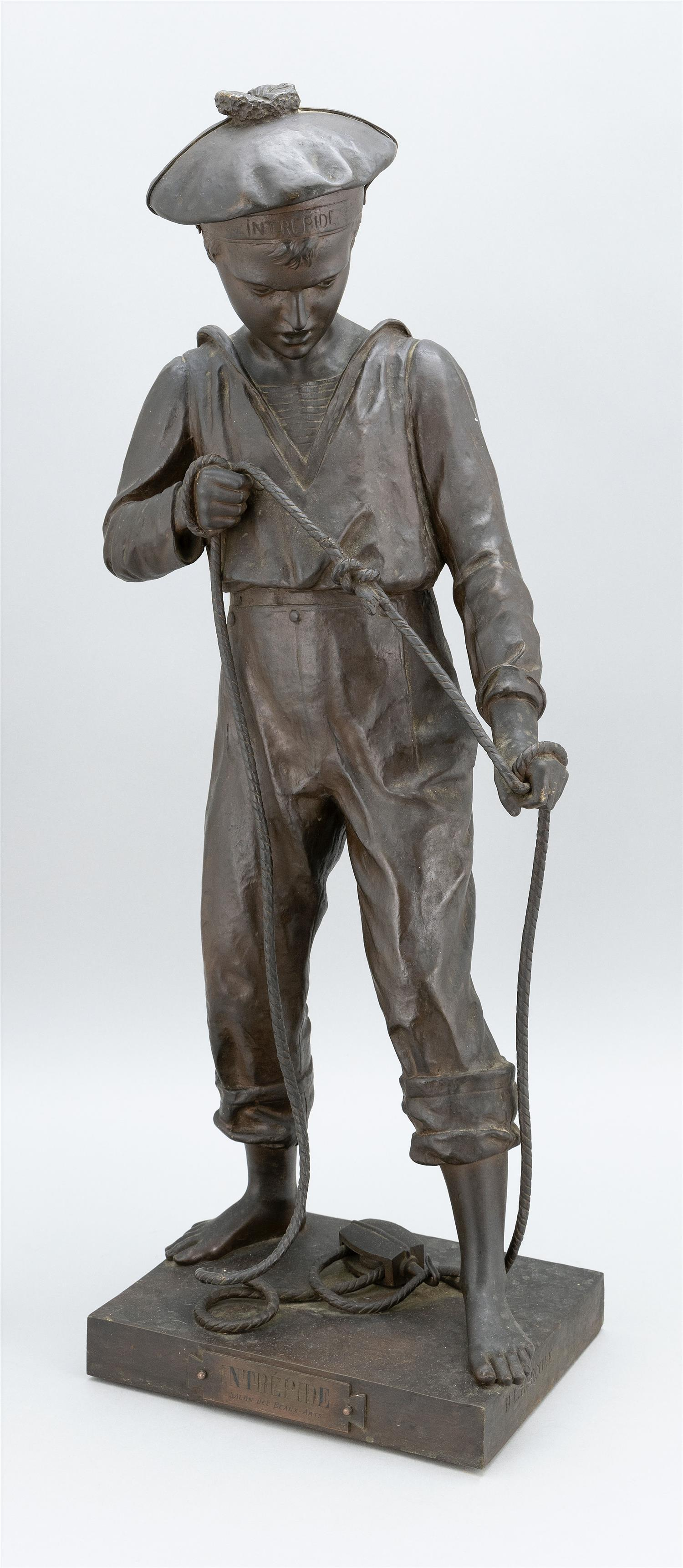 "BENOÎT LUCIEN HERCULE, France, 1846-1913, ""Intrepide"", a sailor boy., Bronze, height 27""."