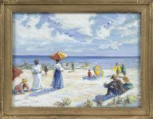 "CHRISTOPHER G. WILLETT, Pennsylvania, b. 1959, ""Afternoon Good Harbor Beach""., Oil on board, 12"" x 16"". Framed 15"" x 19""."