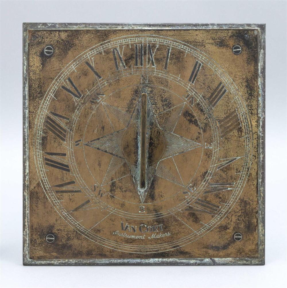 """VAN CORT BRASS SUNDIAL With Roman numerals and engraved star decoration. Mounted on a slate base. Sundial 11"""" x 11"""". Total height 4...."""
