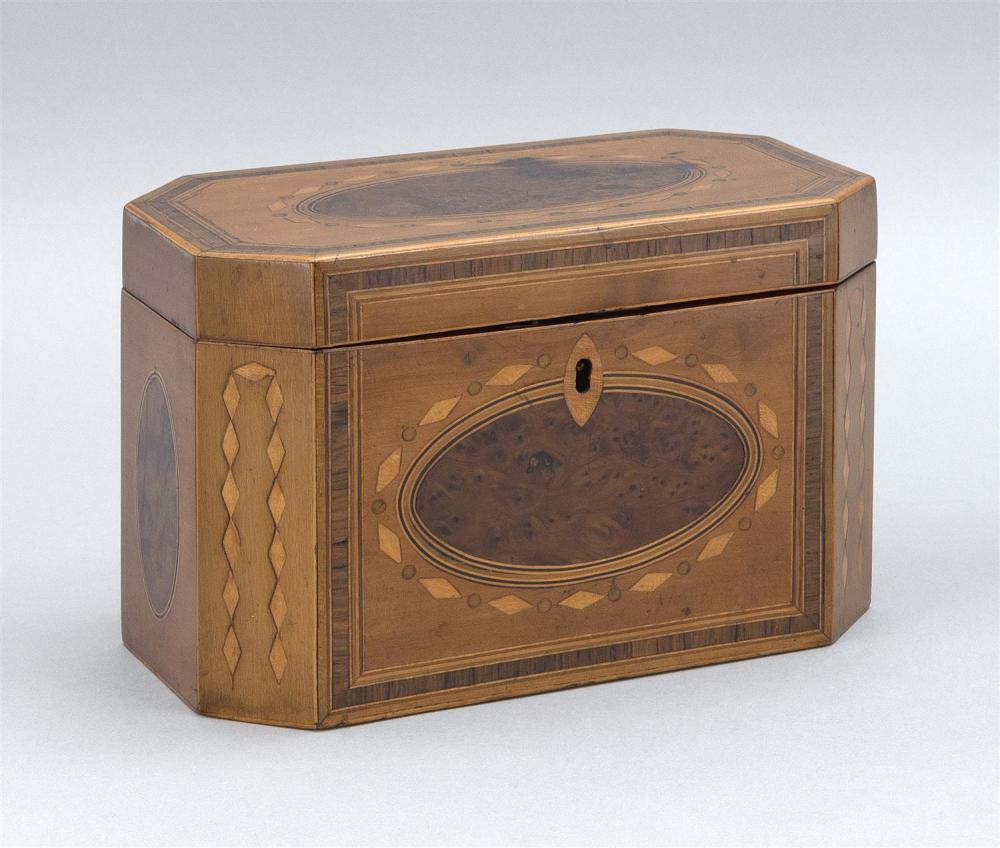 """ENGLISH BURLWOOD TEA CADDY With fruitwood veneer panels and inlay. Compartmented interior. Height 5.25"""". Width 8.25"""". Depth 4.75""""."""