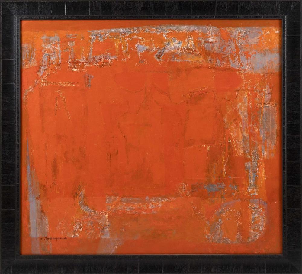 "MICHIO TAKAYAMA, New Mexico/California/Japan, 1903-1994, ""Canyon Sound (I)""., Oil on canvas, 40"" x 36"". Framed 42"" x 45.5""."