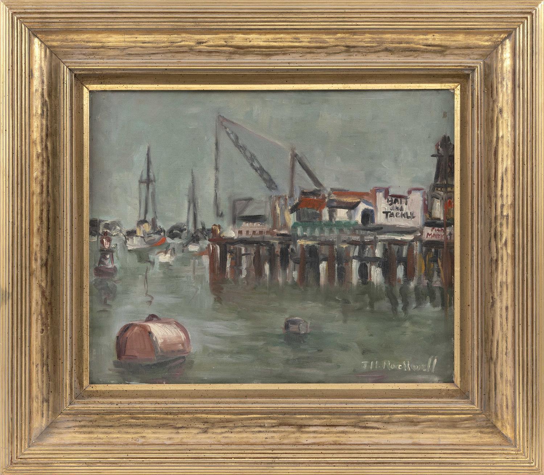 """JOHN H. ROCKWELL, California, 1902-1974, """"San Pedro Harbor""""., Oil on canvas, 16"""" x 20"""". Framed 25"""" x 29""""."""