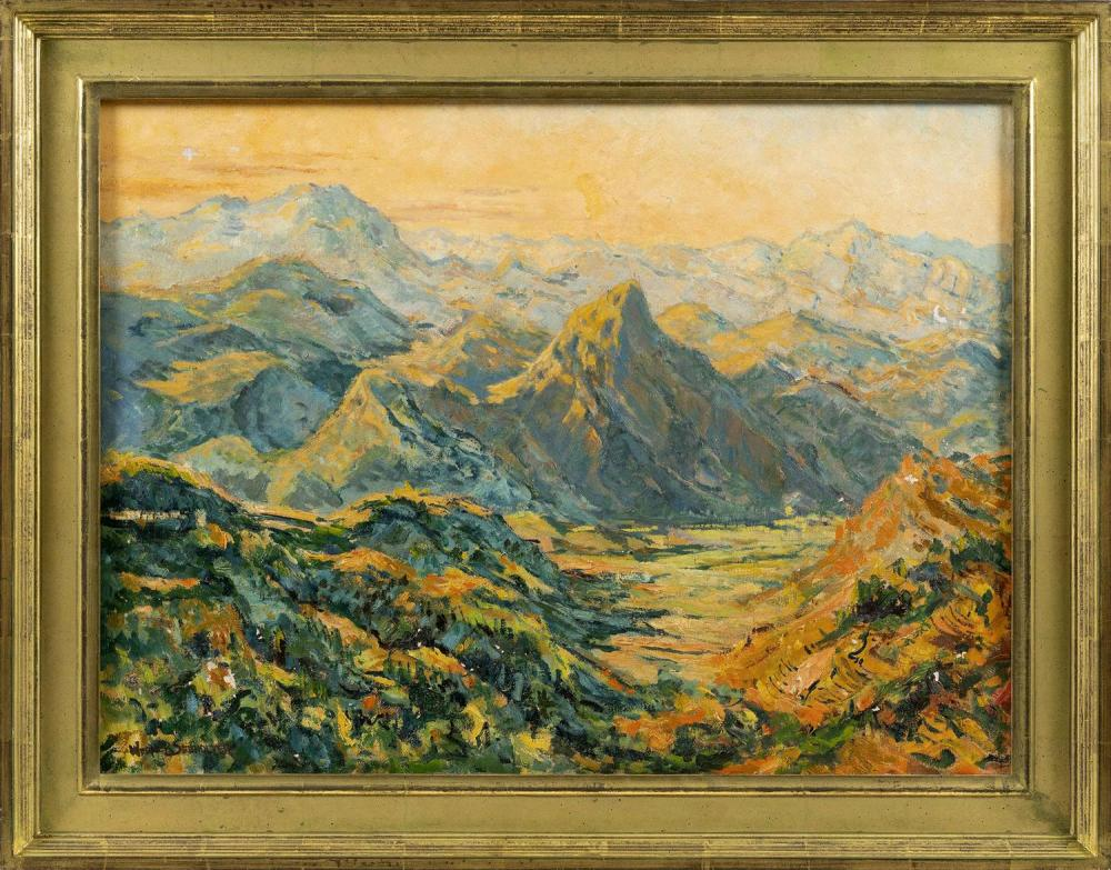 "WERNER SEEHOLZER, California/Switzerland, 1904-1978, ""Sherwood Mountains""., Oil on canvas, 22"" x 30"". Framed 28"" x 35"" ."