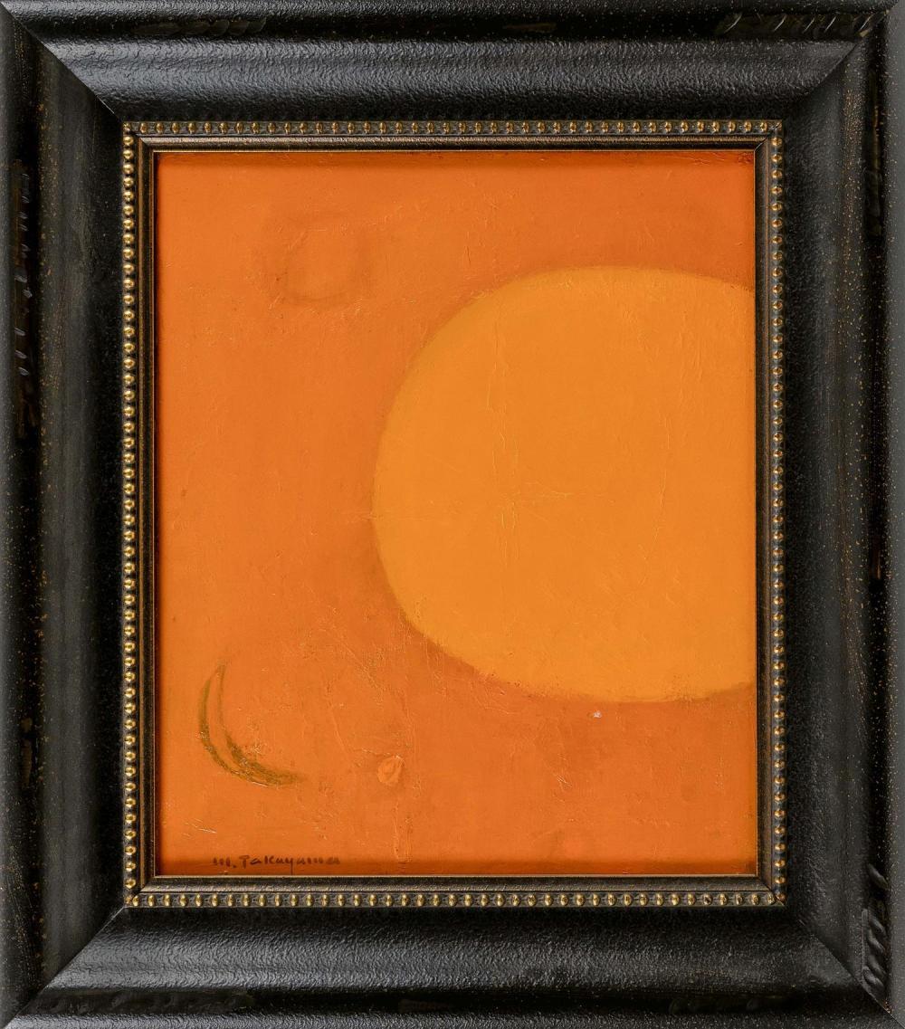 "MICHIO TAKAYAMA, New Mexico/California/Japan, 1903-1994, ""Cosmos""., Oil on linen, 24"" x 20"". Framed 33"" x 29""."
