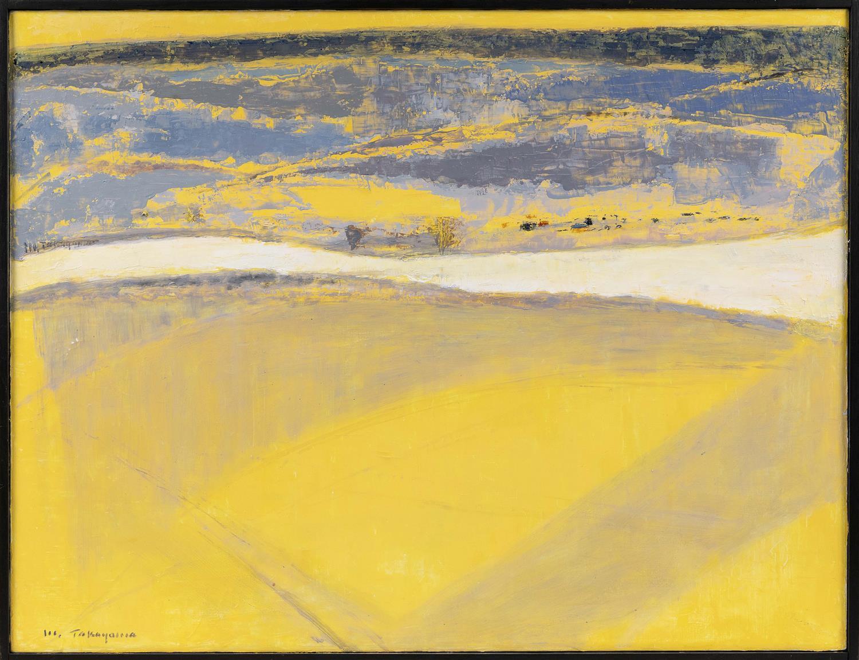 "MICHIO TAKAYAMA, New Mexico/California/Japan, 1903-1994, ""Golden Vista""., Oil on linen, 26"" x 34"". Framed 27"" x 35""."