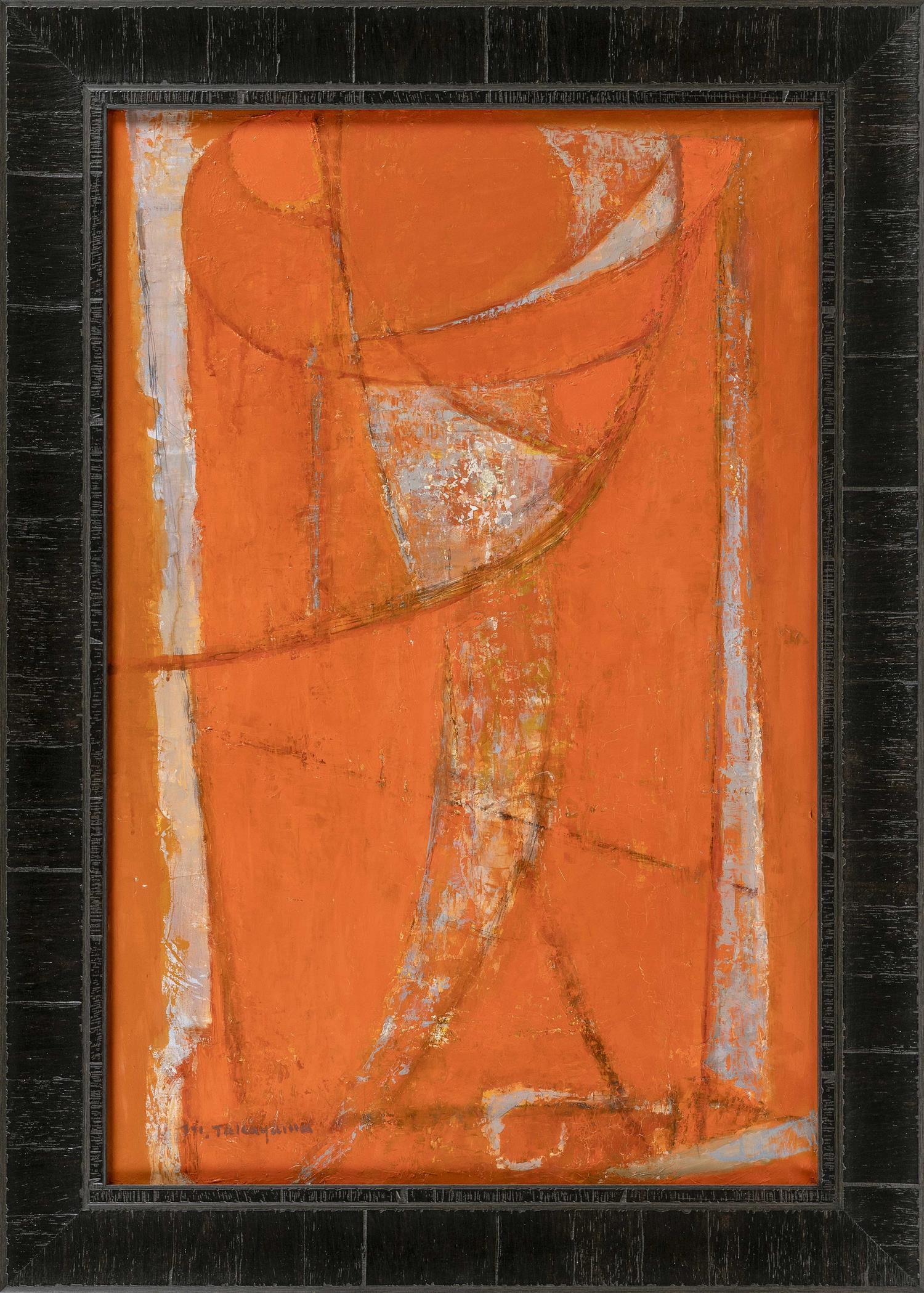 "MICHIO TAKAYAMA, New Mexico/California/Japan, 1903-1994, ""Dialogue""., Oil on canvas, 30"" x 20"". Framed 35.5"" x 25.5""."