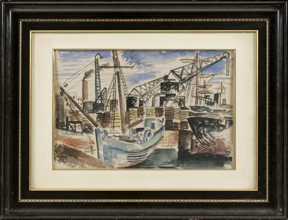 "CHARLES TCHERNIAWSKY, Russian Federation/America, 1900-1976, ""Vue du Port de Brest""., Watercolor on paper, 17"" x 24"". Framed 22"" x 29""."