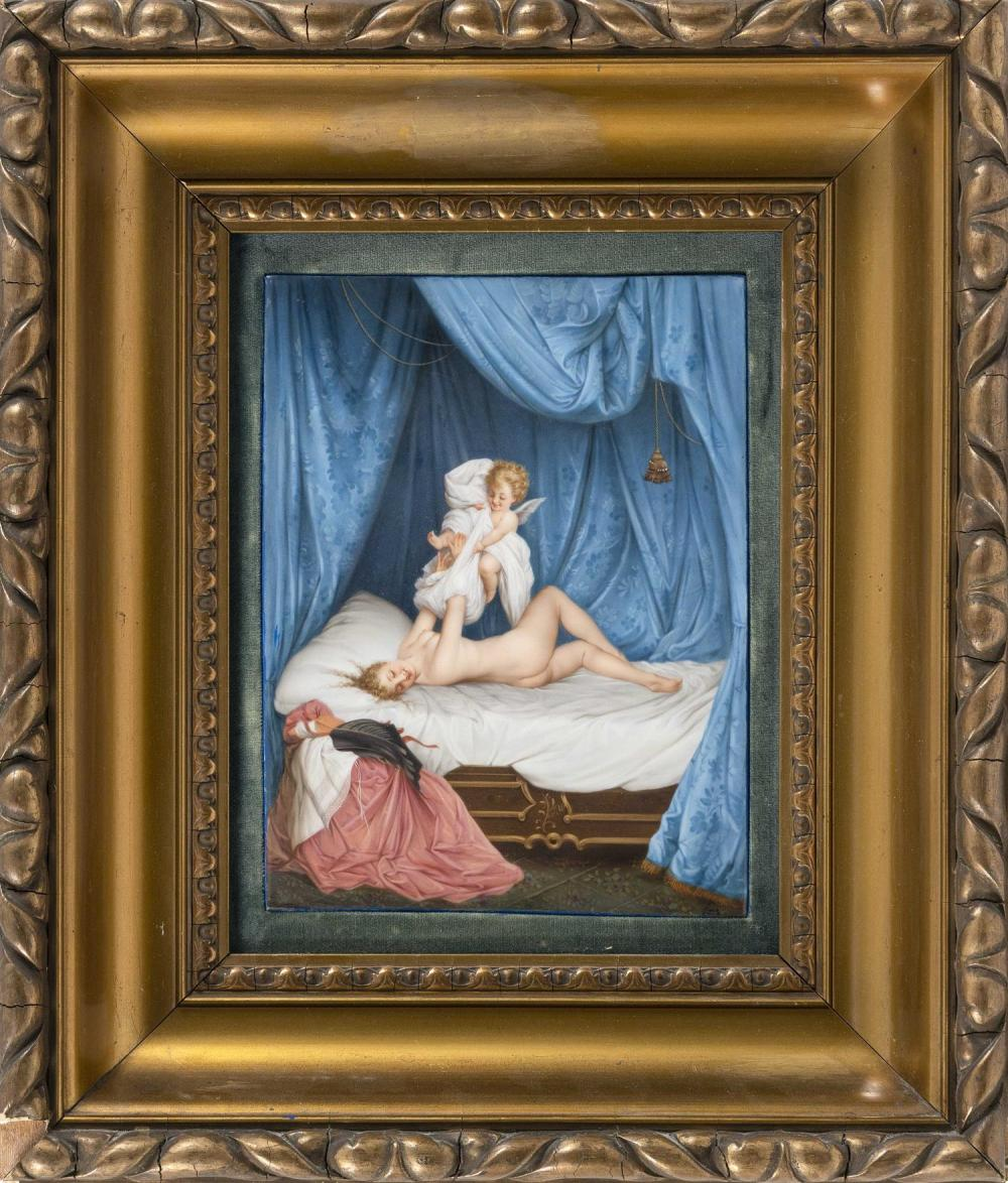 """KPM PORCELAIN PLAQUE By Emil Ens (1824-1898). Depicts a young woman on a bed being undressed by a cherub. Signed lower right """"Ens""""...."""